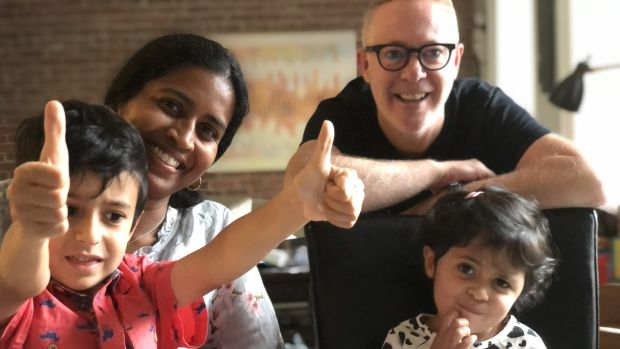 Mark O'Toole and his wife Anosha celebrate their son Aidan's sixth birthday with their daughter Alanna