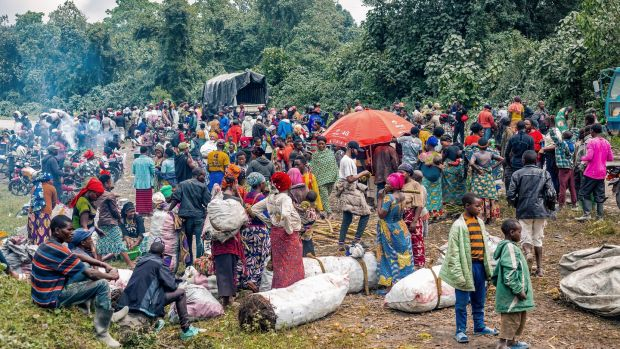Thousands of Congolese on the road as they evacuate from the town of Goma in the aftermath of Mount Nyiragongo volcano eruption on May 26th. Photograph: Michel Lunanga/EPA