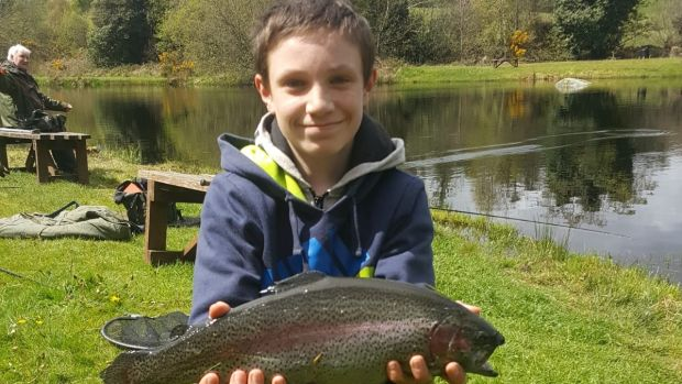 Eric Murnane (15) with a rainbow trout of 1.85kg from Annamoe Trout Fishery in Co Wicklow.