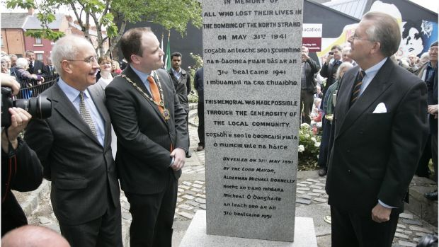 May 31st, 2011: A plaque commemorating the 70th anniversary of the North Strand bombing is unveiled on the grounds of Marino College, Dublin 1. File photograph: Dara Mac Dónaill