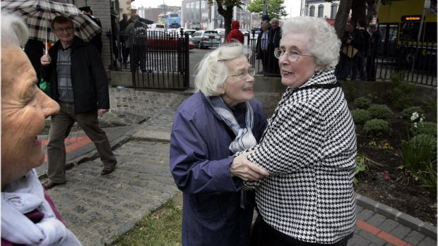 May 31st, 2011: Old friends who were children living on William Street, North Strand, at the time of the bombing meet 70 years later. File photograph: Dara Mac Dónaill