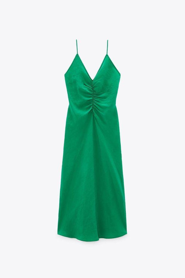 Green dress, €29.95, Zara.