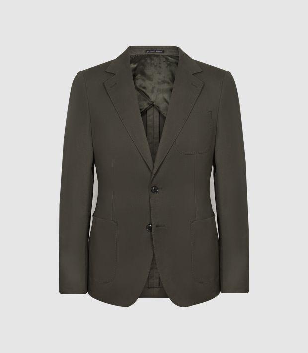 Cotton/linen blazer, €420, Reiss.