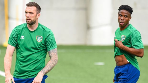 Shane Duffy and Chiedozie Ogbene during a training session in Andorra. Photograph: Bagu Blanco/Inpho