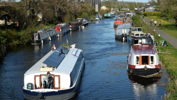 Barges on the Royal Canal at Castleknock, Dublin. Photograph: Dara Mac Dónaill