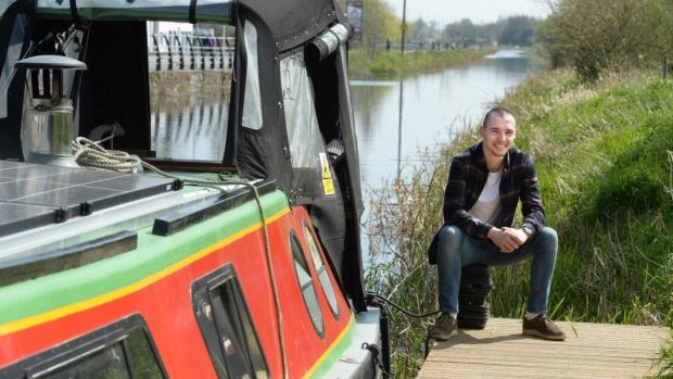 Eolain Downey at his barge The Little Otter on the Royal Canal in Kilcock, Co Kildare. Photograph: Dara Mac Dónaill