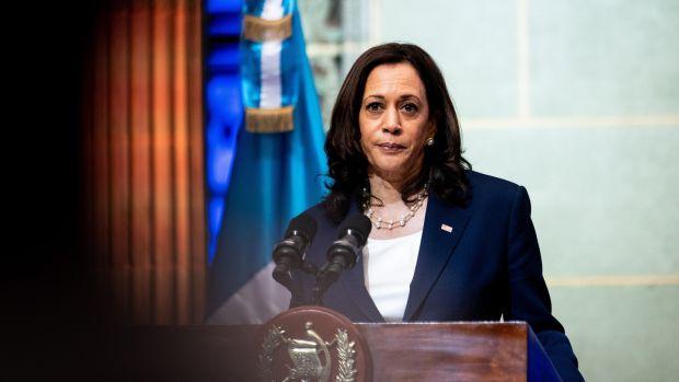US vice-president Kamala Harris addresses a joint news conference with Guatemalan president Alejandro Giammattei in Guatemala City on Monday. Photograph: Erin Schaff/New York Times