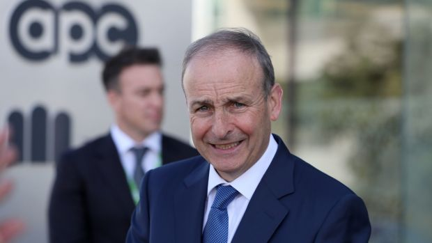 Taoiseach Micheál Martin at the APC plant in Cherrywood where the company announced a €25 investment plan that includes a move into vaccine manufacture. Photograph: Brian Lawless/PA Wire
