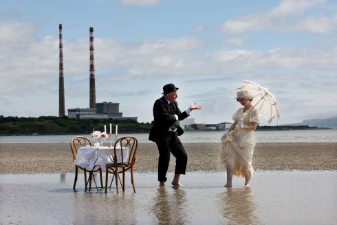 LITERARY CELEBRATION: Les Doherty and Kat Ballhaus, playing Leopold and Molly Bloom of James Joyce's Ulysses, prepare for Bloomsday Festival, on Sandymount Strand, Dublin. This year's festival takes place from June 11th-16th, it will be a celebration of Dublin city with events and activities primarily online. Photograph: Alan Betson