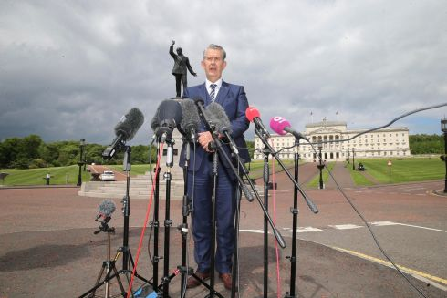 NORTHERN IRELAND: DUP leader Edwin Poots stands in front of the Edward Carson statue at Stormont as he speaks to the press about updates on the Northern Ireland protocol, Brexit and Covid-19 restrictions in the North. Photograph: Pacemaker Belfast