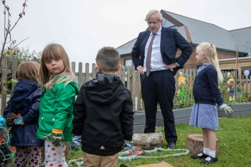 UK NEWS: British prime minister Boris Johnson visits St Issey C of E Primary School to discuss environmental issues with pupils in Wadebridge, Cornwall. Photograph: Jack Hill/Pool/AFP/Getty