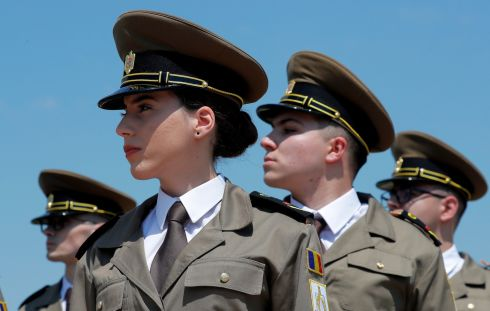 COMMEMORTAE: Romanian military technical academy cadets during a Heroes' Day ceremony held at the Tomb of the Unknown Soldier monument in Carol Park, Bucharest, Romania. Photograph: Robert Ghement/EPA