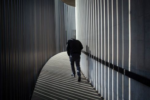 ART HUB: A man walks the spiral path at the Circa Gallery as part of the Keyes Art Mile in Johannesburg, South Africa. The street has become an art mile involving galleries such as Circa and Everard Read as well as various restaurants that bring the public to the street in the heart of the Rosebank area of Johannesburg. Photograph: Kim Ludbrook/EPA