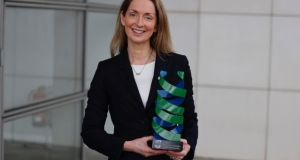 Proft Patricia Maguire receiving the NovaUCD Invention of the year award 2021 on behalf of the team for AI_PREMie. Photograph: Nick Bradshaw