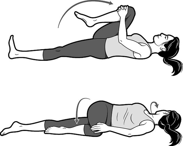 The knee to chest to spinal twist exercise stretches the hips and lower back. Photograph: Brown Bird Design/New York Times