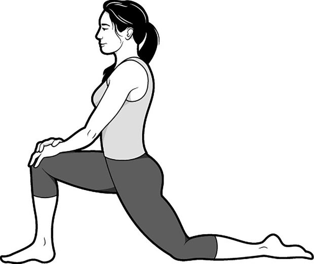 The low lunge begins to open up the psoas muscle, the deepest muscle in the core that connects the spine to the legs. Photograph: Brown Bird Design/New York Times
