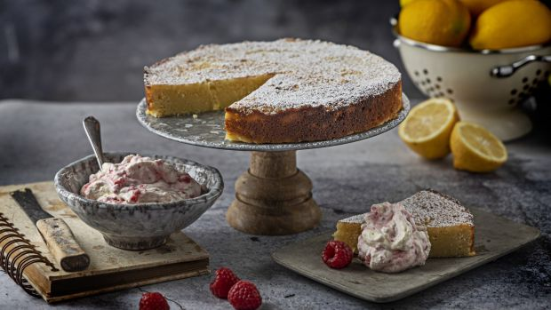 Lemon ricotta cake with raspberry ripple cream