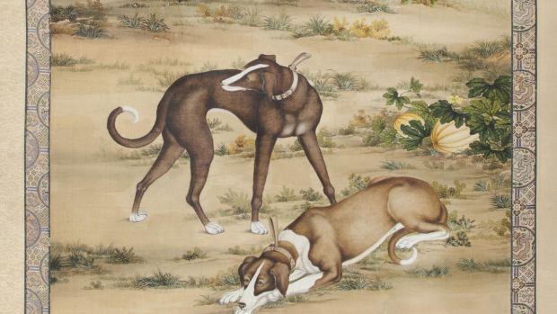A large scroll painting of a dog bearing the apocryphal signature of Giuseppe Castiglione, also known as Lang Shining.  but supposed to be by the Italian priest by the former owner Argentine diplomat, Juan Carlos Enrique Katzenstein.  The book is accompanied by documentation of Katzenstein's months of research 10,000 to 12,000 €