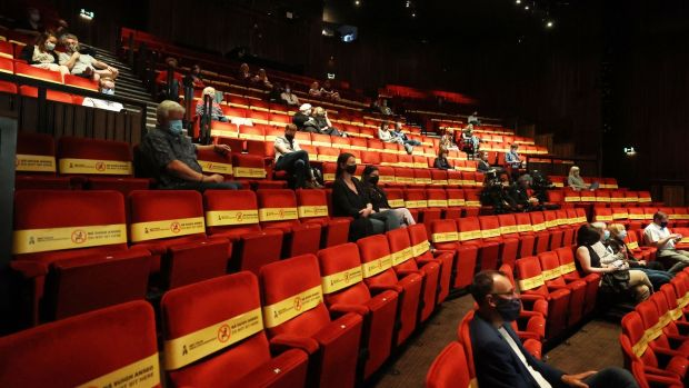 The Abbey Theatre auditorium starts to fill up before its return performance to an audience on Monday evening. Photograph Nick Bradshaw for The Irish Times