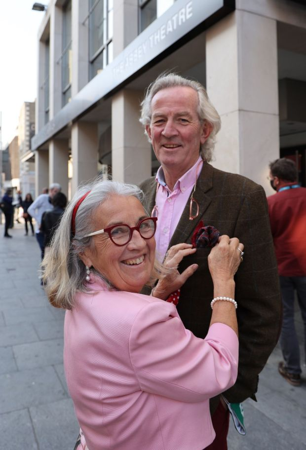 Theatre-goers Katie and Johnny FitzGibbon from Youghal, Cork arriving for the show. Photograph: Nick Bradshaw/The Irish Times
