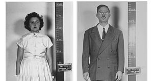 Julius and Ethel Rosenberg, following their arrest by the FBI in New York city for espionage, 1950. They were convicted and executed in 1953. Photograph: Kypros/ Getty
