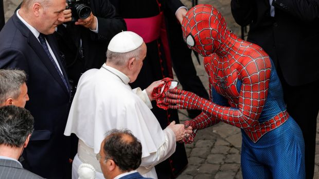 Mattia Villardita and Pope Francis: 'I asked him if he could please really pray for the children who are suffering a lot in cancer hospitals.' Photograph: Giuseppe Lami/EPA