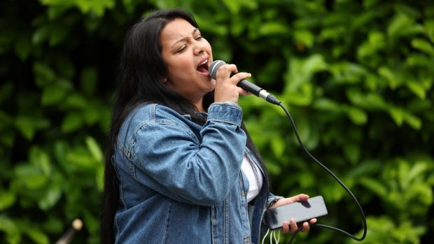 Shelly Stanka sings while taking part in Longford Youth Service in partnership with Music Generation. Shelly's dream is to be a guard and a singer. Photograph: Dara Mac Dónaill
