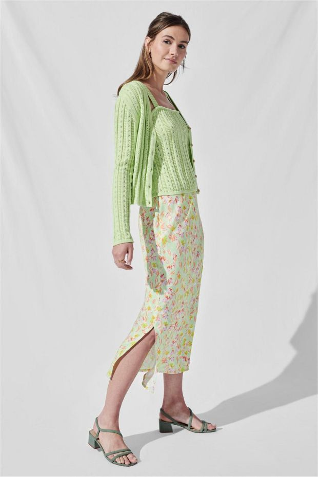 4.Lime green camisole, €44.50, and bias-cut midi-skirt, €52.50, both Omnes