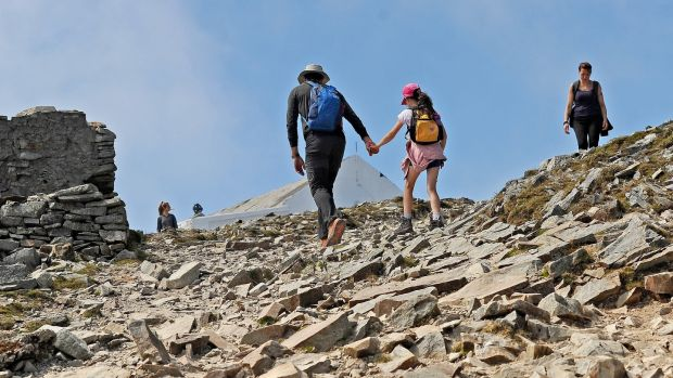 Pilgrims making their way up Croagh Patrick. Photograph: Conor McKeown