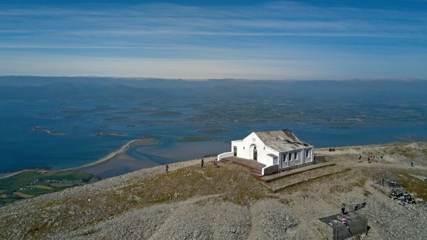 St Patrick's Oratory on the summit of Croagh Patrick. The annual Reek Sunday pilgrimage to the Mayo mountain was cancelled last year due to the Covid-19 pandemic but will go ahead this year. Photograph: Conor McKeown