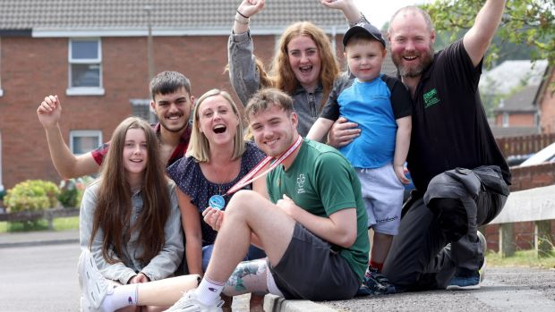 Barry McClements from Newtownards in Co Down with his parents Kelly-Anne and Barry Snr as well as brothers and sisters Madison, Cameron, Megan and Cruz. Photograph: Stephen Davison