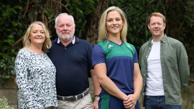 Chloe Watkins, Irish Hockey international player pictured with her parents Pascal and Gordon and brother Gareth at home in Killiney, Dublin before she departed for the Olympic games. Photograph: Dara Mac Dónaill/The Irish Times
