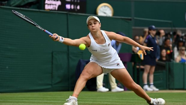 Australia's Ashleigh Barty returns against Czech Republic's Karolina Pliskova during their women's singles final at Wimbledon. Photograph: Glyn Kirk/AFP via Getty Images
