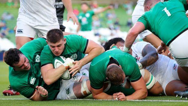 Ireland's Nick Timoney scores a try at the Aviva Stadium. Photograph: Ryan Byrne/Inpho