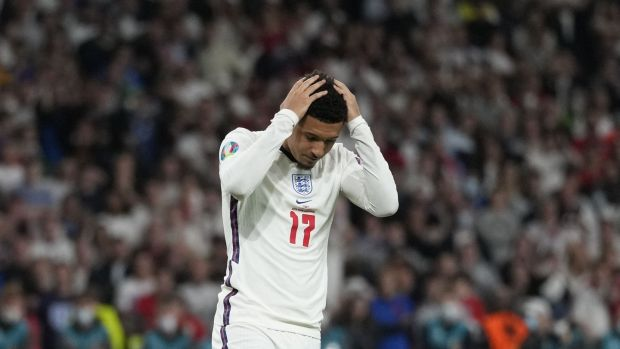 England's forward Jadon Sancho fails to score in the penalty shootout. Photograph: Frank Augstein/Pool/AFP via Getty