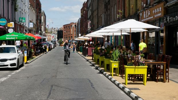 Restaurant tables on Capel Street in Dublin on Friday. The Taoiseach on Friday said indoor dining is set to resume from July 26th, despite the surge in Covid cases. Photograph: Collins