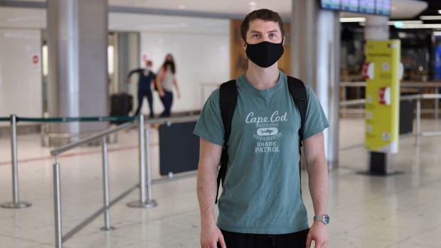 Liam O'Flaherty, from Sligo, arriving at Dublin Airport. Photograph: Dara Mac Dónaill