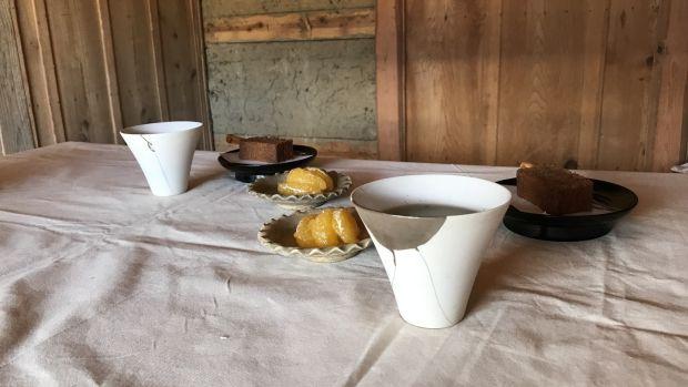 Tea served in delicate porcelain cups repaired by Kuroda Yukiko. Photograph: Bonnie Kemske