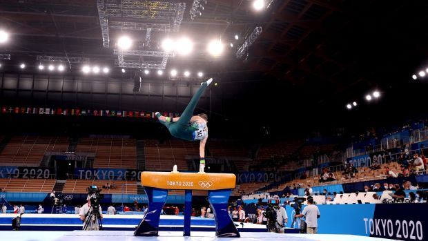 Rhys McClenaghan on the Pommel Horse. Photo: James Crombie/Inpho