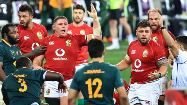 Tadhg Furlong appeals to referee Nic Berry during the first Test. Photograph: David Rogers/Getty Images