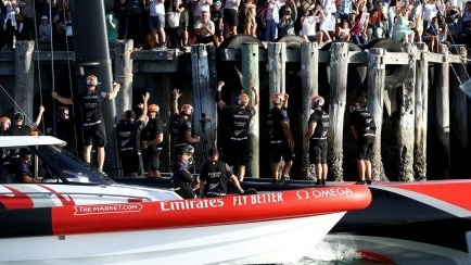 Team New Zealand after their 2021 America's Cup victory. Photo: Phil Walter/Getty Images