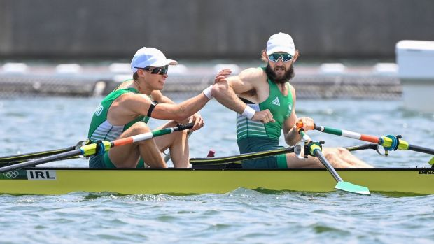 Fintan Mc Carthy and Paul O'Donovan reached the final of the men's lightweight double sculls. Photo: Charly Triballeau/AFP via Getty Images