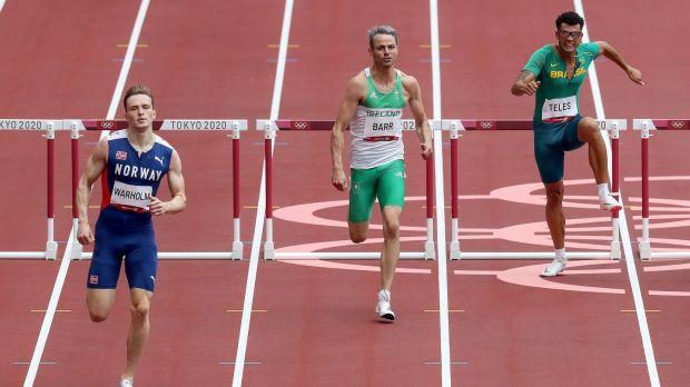Norway's Karsten Warholm leads Thomas Barr. Photo: Bryan Keane/Inpho