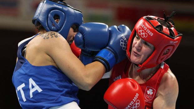 Kellie Harrington in action against Italy's Rebecca Nicoli. Photo: Buda Mendes/POOL/AFP via Getty Images