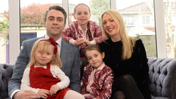 Richard Hogan, author of Parenting the Screenager pictured at home with his wife Erica and children Hannah (9) Lizzy (6) and Sophie (3). Photograph: Dara Mac Dónaill