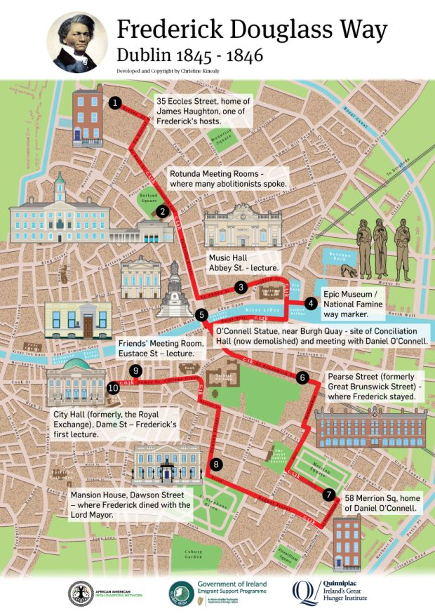 The Dublin walking trail. A Cork trail has already been launched and further trails associated with locations that Douglass visited in Belfast, Wexford and Waterford are planned.