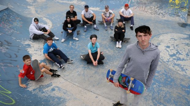 Evan Fogarty and a group of skateboarders at Cork Street skate park.  Photography: Nick Bradshaw