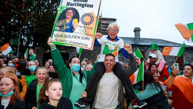 Family and friends of Kellie Harrington celebrate in Portland Row. Photo: Tommy Dickson/Inpho