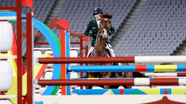 Irish Natalya Coyle when horse Constantine refused to jump in the riding section of the modern pentathlon in Tokyo.  Photograph: Bryan Keane / Inpho