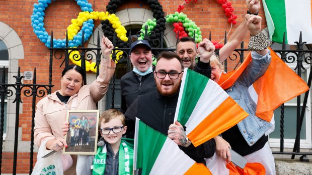 Members of the Russell Family welcoming Olympic gold medal winning boxer Kellie Harrington back to Portland Row in Dublin 1 on Tuesday. Photograph: Alan Betson